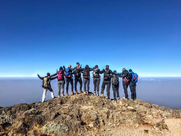 De volledige groep bovenaan de Barranco wall